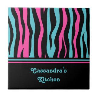 Cute zebra print punk in hot pink, black, and blue tile