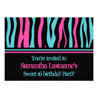 Cute zebra print punk pink, black, blue, sweet 16 custom invitation