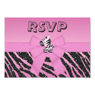 Cute Zebra, Printed Bow & Glitter Look RSVP Card