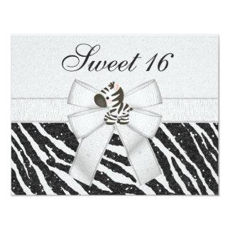 Cute Zebra, Printed Bow & Glitter Look Sweet 16 Card