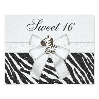 Cute Zebra, Printed Bow & Glitter Look Sweet 16 Personalized Announcement