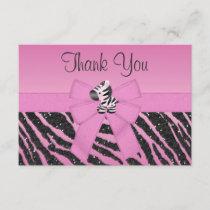 Cute Zebra, Printed Bow & Glitter Look Thank You
