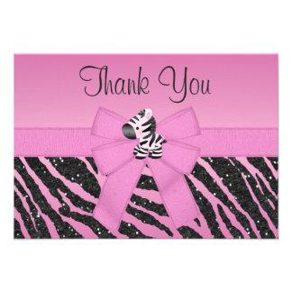 Cute Zebra Printed Bow Glitter Look Thank You Custom Announcements