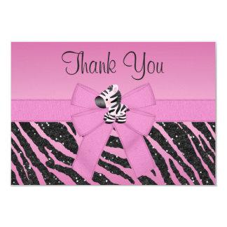 Cute Zebra, Printed Bow & Glitter Look Thank You Custom Announcements