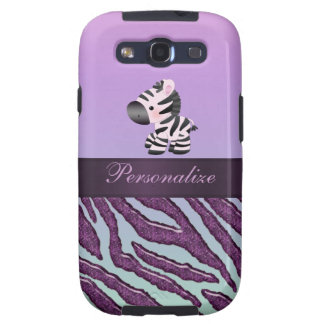 Cute Zebra & Purple Animal Print Galaxy S3 Cases