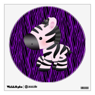 Cute Zebra & Purple Animal Print Wall Decal