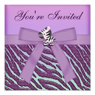Cute Zebra & Purple Cupcakes Animal Print Party Card