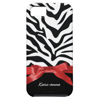 Cute Zebra Stripes BW Red Personalized iPhone 5 Cover