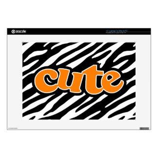 "Cute Zebra Stripes Orange 15"" Laptop Decals"