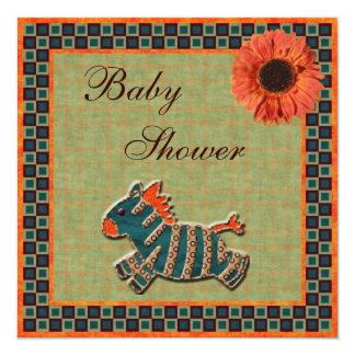 Cute Zebra & Sunflower Funky Neutral Baby Shower Personalized Invitations