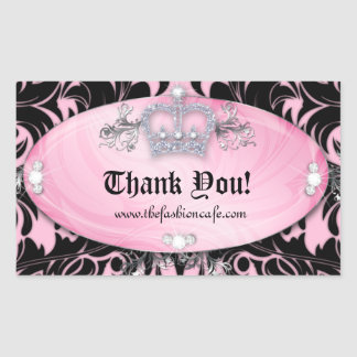 Cute Zebra Valentine's Jewelry Crown Pink Rectangular Sticker