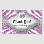Cute Zebra Valentine's Jewelry Heart Glitter Pink Rectangular Sticker