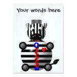 Cute zebra with a zipper 5x7 paper invitation card