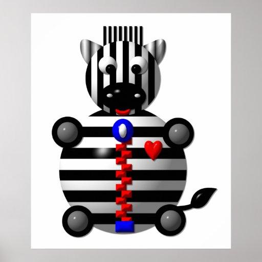 Cute zebra with a zipper poster