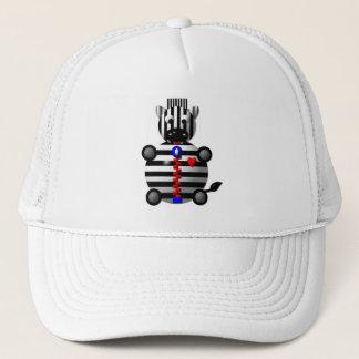 Cute zebra with a zipper trucker hat