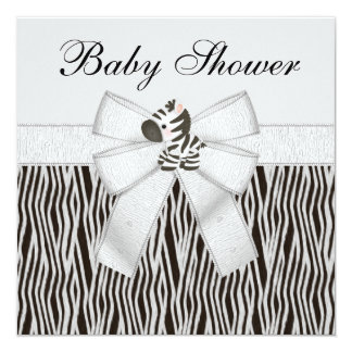 Cute Zebras & Animal Print Baby Shower 5.25x5.25 Square Paper Invitation Card