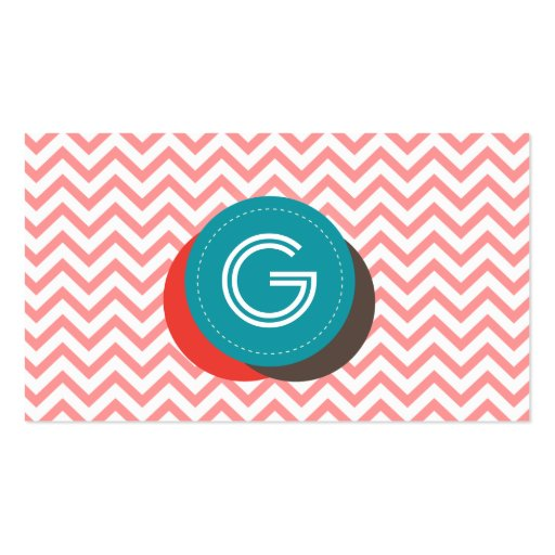 Cute Zigzag Stripes Monogram Business Card (front side)