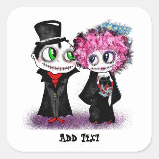 Cute zombie bride and groom cartoon GOTH wedding Square Sticker