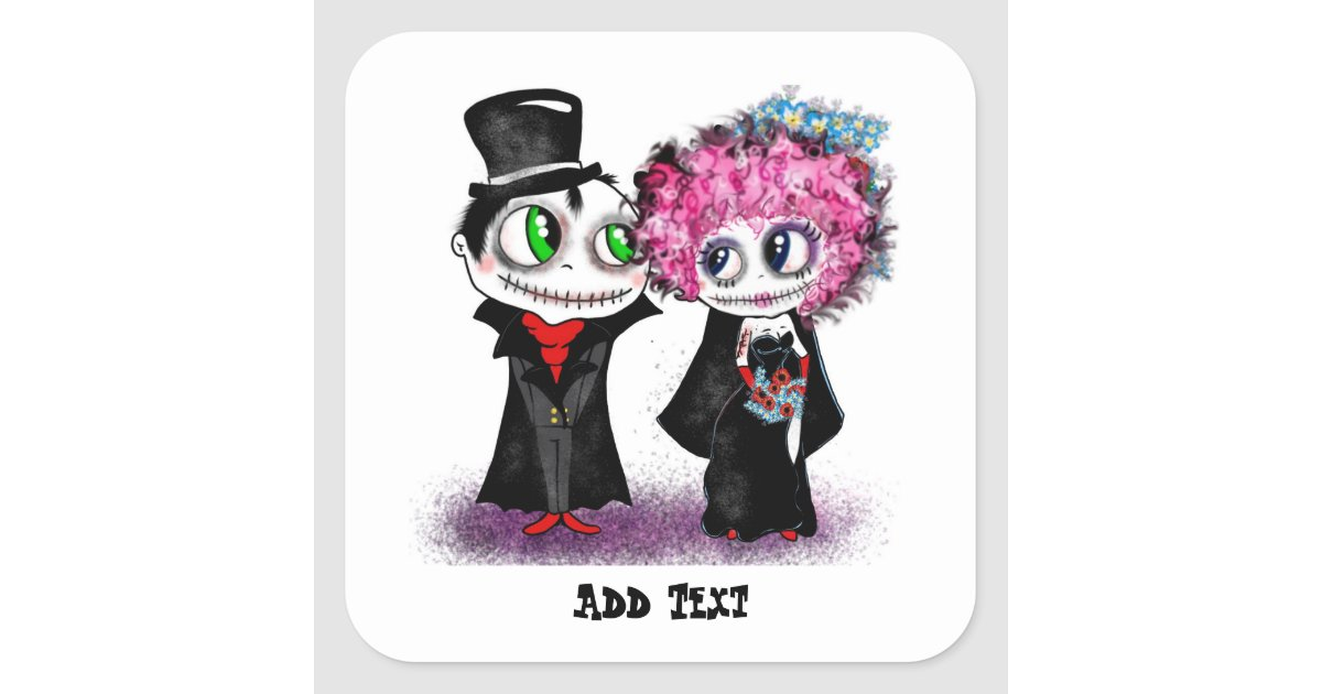 Zombie Wedding Gifts: Cute Zombie Bride And Groom Cartoon GOTH Wedding Square