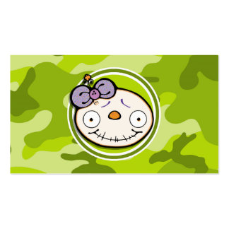Cute Zombie Girl; bright green camo, camouflage Business Cards