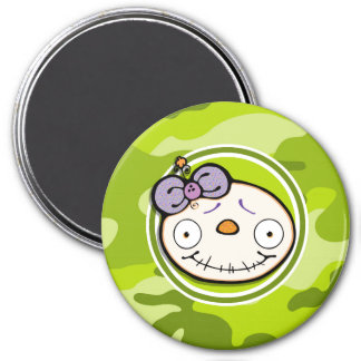 Cute Zombie Girl; bright green camo, camouflage Refrigerator Magnets