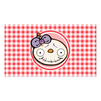 Cute Zombie Girl on Red and White Gingham Business Card Templates