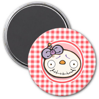 Cute Zombie Girl on Red and White Gingham Refrigerator Magnet