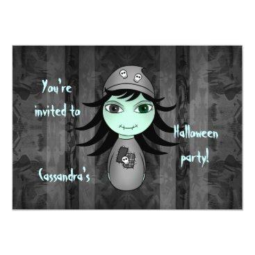 TheHopefulRomantic Cute zombie Halloween kids party Card
