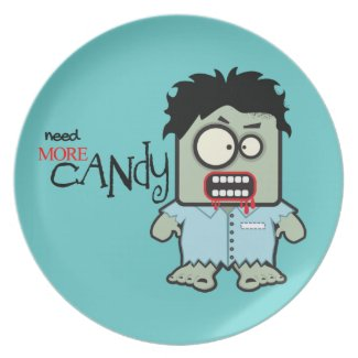 Cute Zombie Halloween Plates