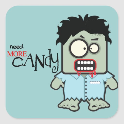Cute Zombie Halloween Square Stickers
