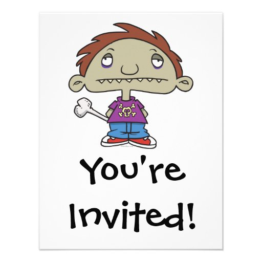 cute zombie kid cartoon character personalized announcements