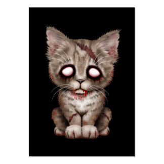 Cute Zombie Kitten Cat on Black Large Business Cards (Pack Of 100)