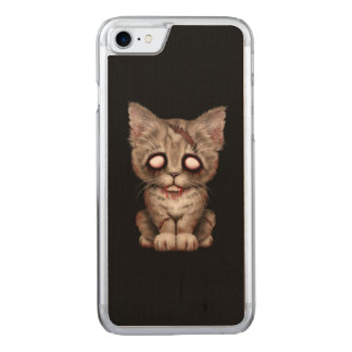 Cute Zombie Kitten Cat on Black Carved iPhone 7 Case