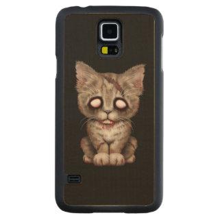Cute Zombie Kitten Cat on Black Carved® Maple Galaxy S5 Slim Case