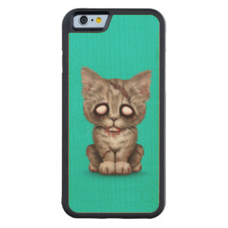 Cute Zombie Kitten Cat on Blue Carved® Maple iPhone 6 Bumper