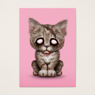 Cute Zombie Kitten Cat on Pink Business Card