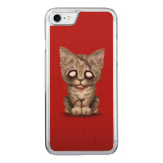 Cute Zombie Kitten Cat on Red Carved iPhone 7 Case