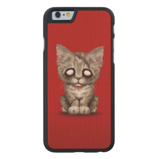 Cute Zombie Kitten Cat on Red Carved Maple iPhone 6 Slim Case