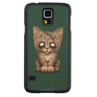Cute Zombie Kitten Cat on Teal Blue Carved® Maple Galaxy S5 Slim Case