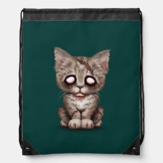 Cute Zombie Kitten Cat on Teal Blue Drawstring Bags