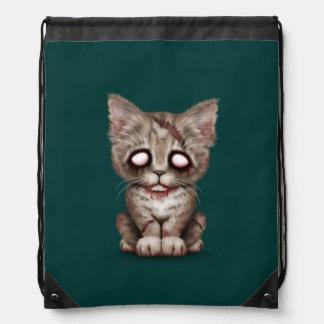 Cute Zombie Kitten Cat on Teal Blue Cinch Bag