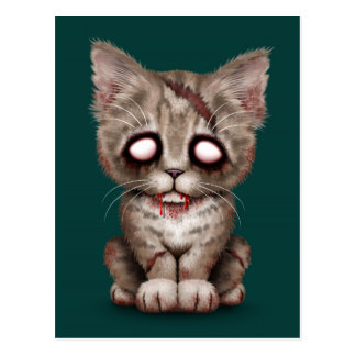 Cute Zombie Kitten Cat on Teal Blue Postcard