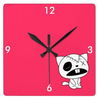 Cute Zombie Kitty Cat Square Wall Clock