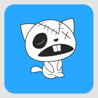 Cute Zombie Kitty Cat Square Stickers