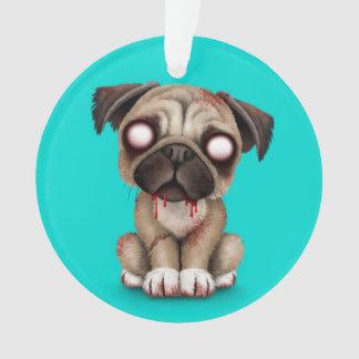 Cute Zombie Pug Puppy Dog on Blue