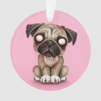 Cute Zombie Pug Puppy Dog on Pink
