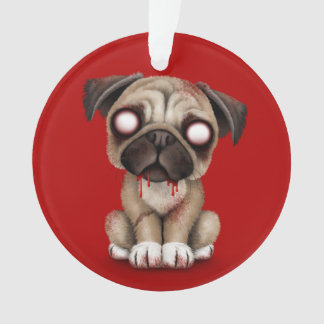 Cute Zombie Pug Puppy Dog on Red
