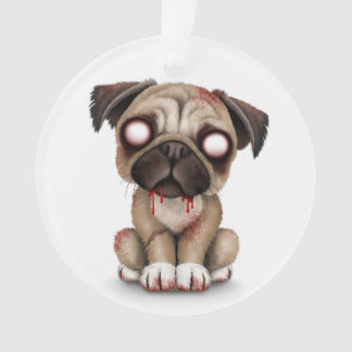 Cute Zombie Pug Puppy Dog on White