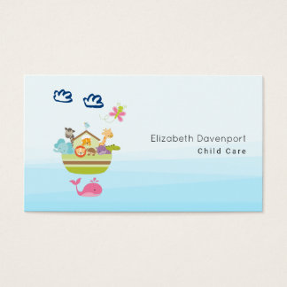 Cute Zoo Animal Ark with a Butterfly and Whale Business Card