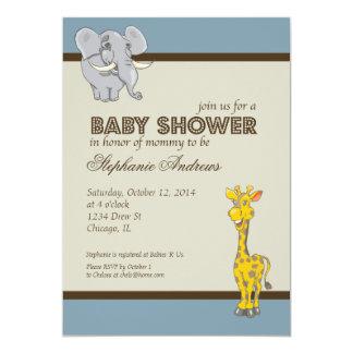 Cute Zoo Animals Baby Shower Boy Invitation